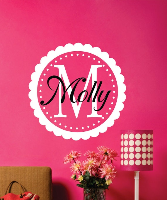 Name Wall Decal-  Name Wall Decal - Name with Frame Wall Decal - Girls Name Wall Decal - Nursery Decor