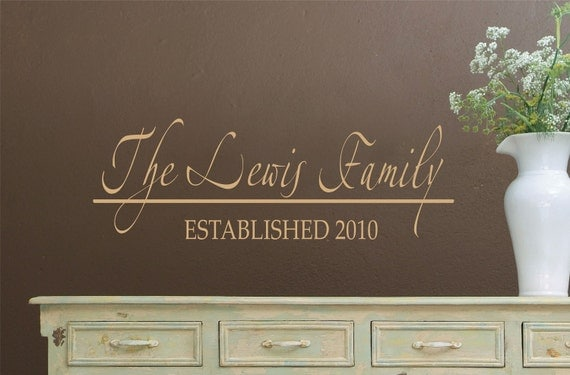 Family Name Vinyl Decal - Name Wall Decal - Wedding Decorations - Personalized Vinyl Wall Decals - Family Name