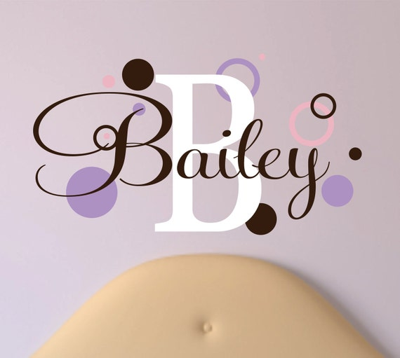 Childrens Name Wall Decal  with Rings and Dots - Name Wall Decal - Childrens Wall Decals - Baby Girl or Boy Nursery Wall Art