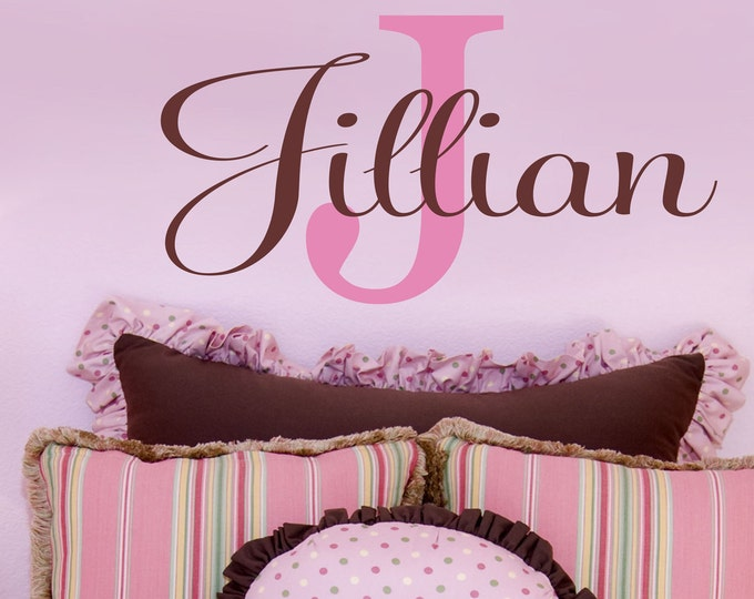 Girls Custom Wall Decals // Monogram Decal // Childrens Name Wall Decals // Personalized Name Vinyl Lettering // Nursery Wall Decal