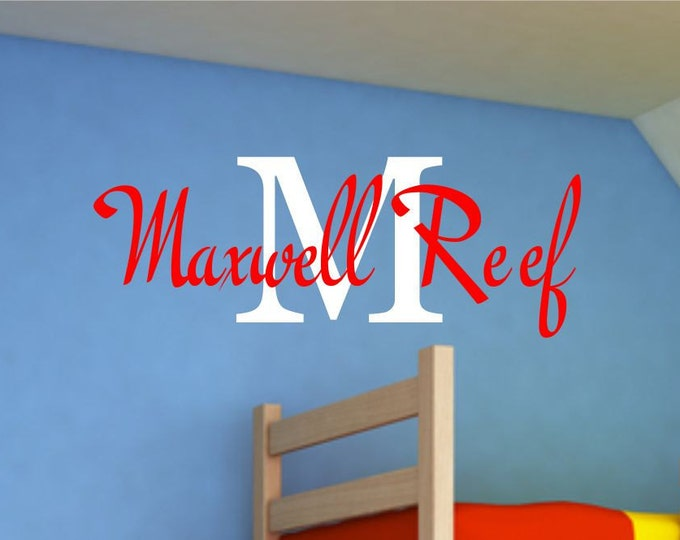 Boys Name Wall Decal - Name Wall Decal - Childrens Wall Decals - Boys Nursery Decal - Personalized