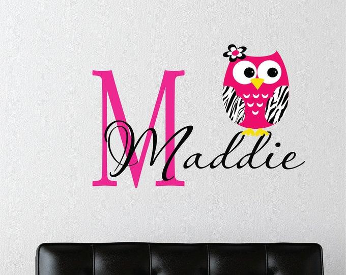 Girls Name with Zebra Owl Wall Decal // Custom Name  Decal // Girls Teen Bedroom // Childrens Wall Decal // Zebra Owl Decal // Monogram