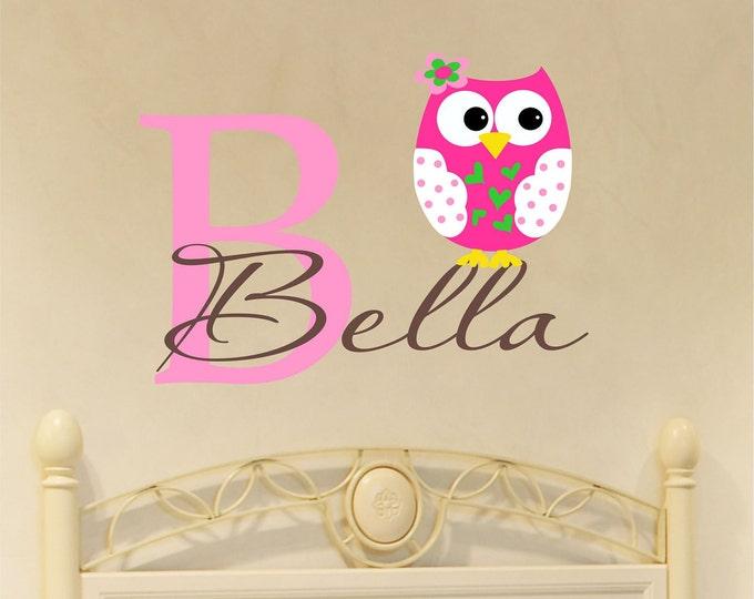 Custom Girls Name With Owl Decal // Custom Monogram // Girls Name Wall Decal // Nursery Decal // Owl Decor // Girls Bedroom Decal