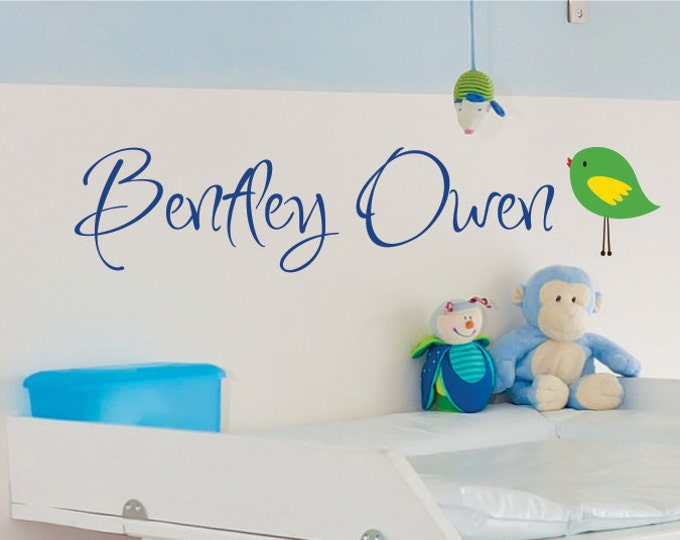 Childrens Wall Decal  - Name Wall Decal - Boys Name Wall Decal  - Baby Nursery Name Decals - Bird  Wall Art