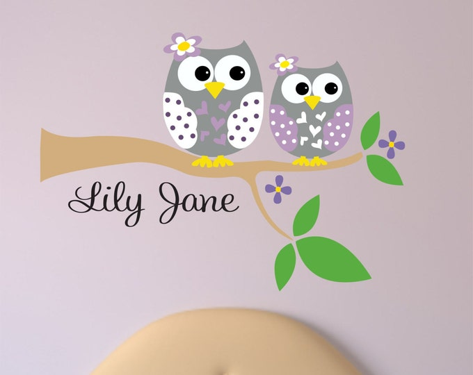 Personalized  Owl Decal - Name Wall Decal - Owl Wall Decals - Tree branch with Owl Sisters wall Decal.
