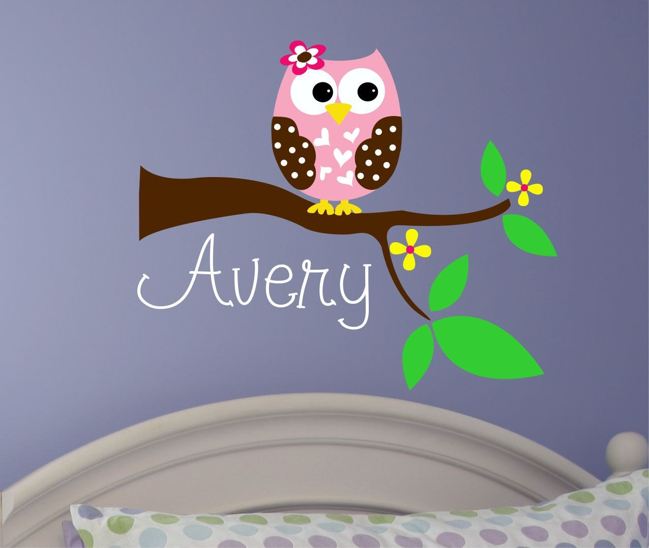 owl wall decal personalized name wall decal nursery wall. Black Bedroom Furniture Sets. Home Design Ideas