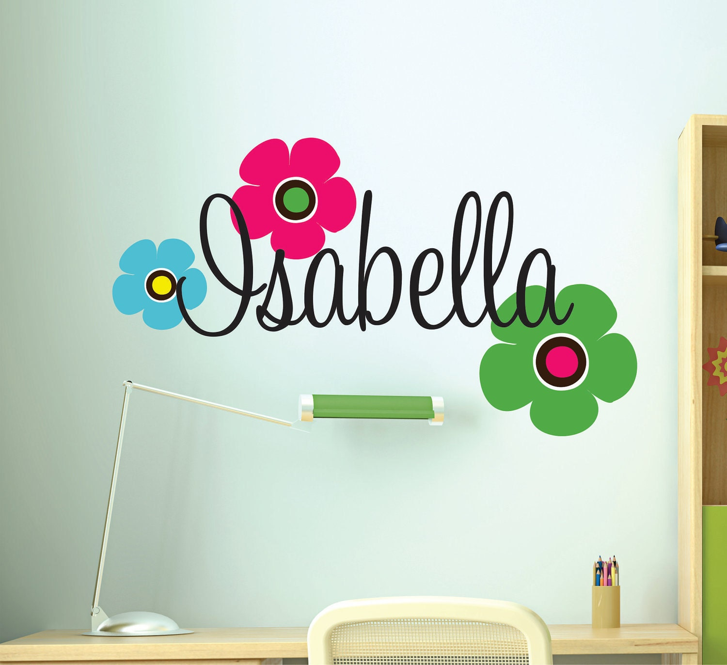 Girls custom name wall decals retro flowers decal teen for Teen wall decor