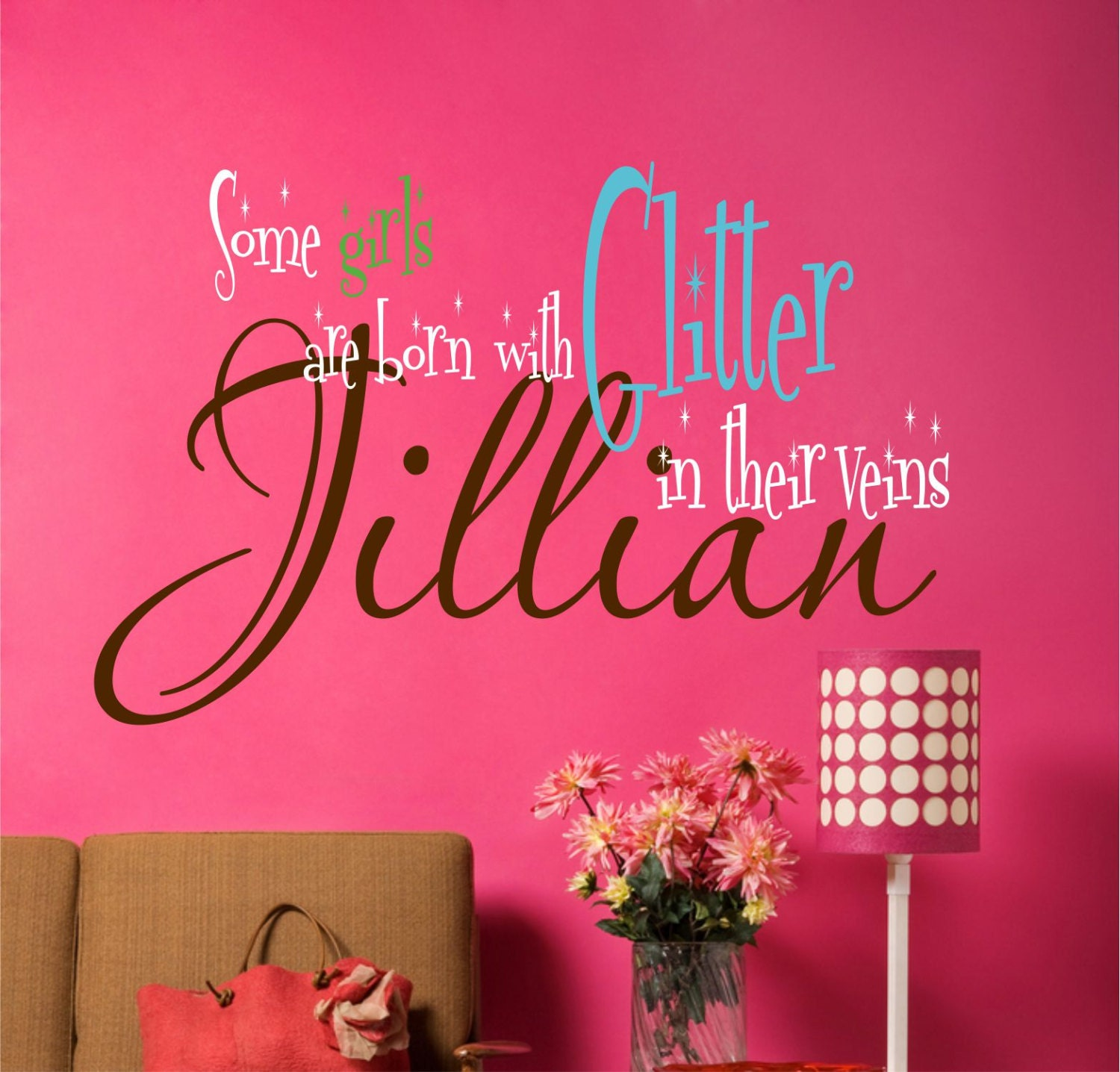 Custom girls wall decals some girls are born with glitter for Teen wall decor