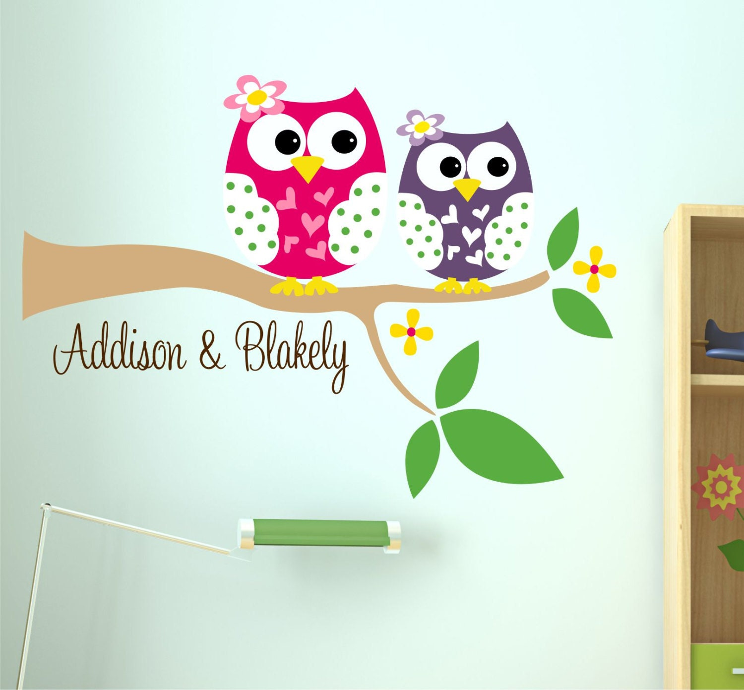 Owl Wall Decal Name Wall Decal Childrens Wall By Lucylews