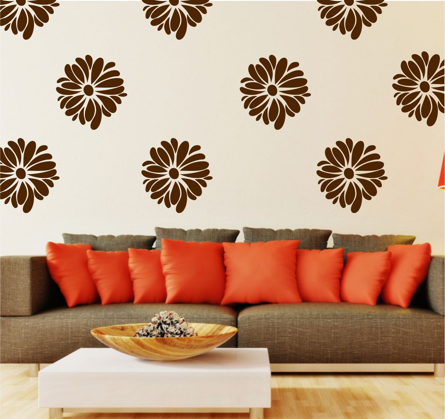 Flower Wall Decals Small Decal Pattern Flower Great for Bedroom or Living