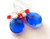 Red, White, Blue Earrings. 4th of July Earrings, Sterling SIlver Fill Earrings