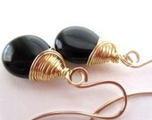 Black Earrings, Black Teardrop Earrings, 14K GF, Jet Black