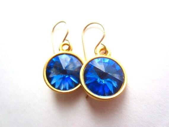 Sapphire Swarovski Rivoli Earrings, Sapphire Blue, 14K Gold Earrings