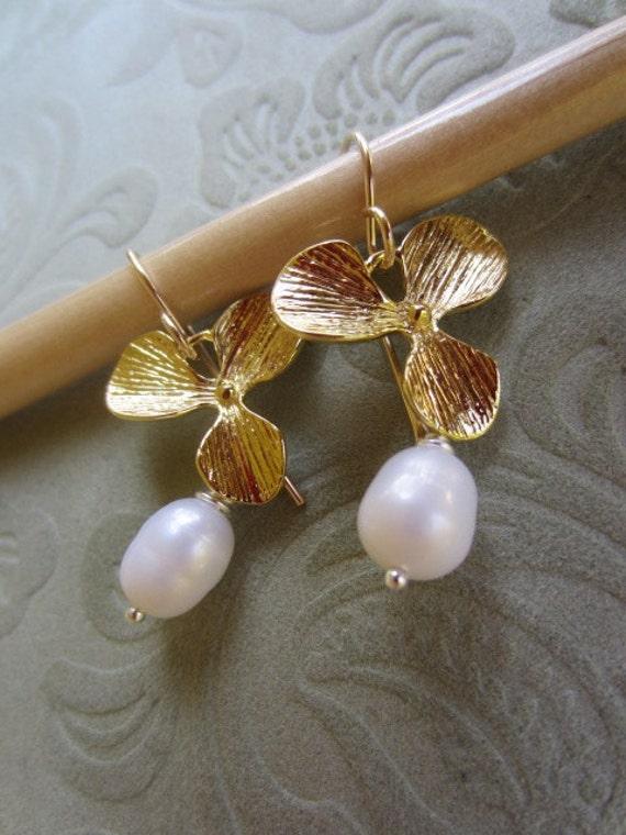 CLEARANCE - Pearl Earrings. Cascading Orchid Pearl Earrings. 14K Gold Earrings