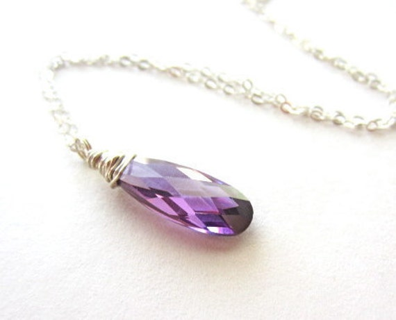 Purple Necklace, Sterling Silver, Violet Cubic Zirconia