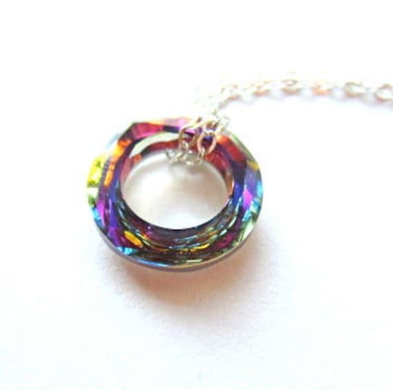 Crystal Volcano Necklace, Swarovski Necklace, Sterling Silver Necklace