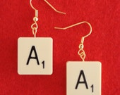 Scrabble Tile Drop Earrings ---MOST LETTERS---