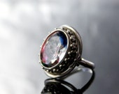 ART NOUVEAU Ring. Solid Silver 830. Iris Rainbow Glass