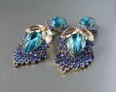 Vintage Dramatic Huge Dangle Gablonz Rhinestone Czech Glass Earrings Clip On