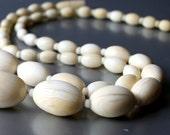 Antique Pre Ban Genuine ivory Necklace Art Deco Smooth Graduated