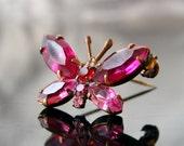 Butterfly Rose Pink Czech Glass Gablonz Brooch Strass Rhinestone Openback Unplated