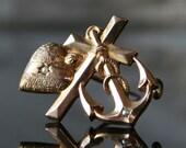 Victorian Faith Hope Love Brooch Sacred Heart Cross Anchor Seed Pearls