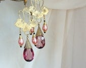 Art Nouveau Revival. Floral Pearls Giant Dramatic Huge Czech Glass Wedding Dangle Earrins