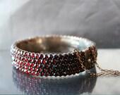 Antique Garnet Bracelet Austro Hungarian. Bohemian Czech Garnets Rose Cut