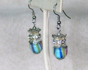 glass bead silver 925 and rhinestones  dangle earrings