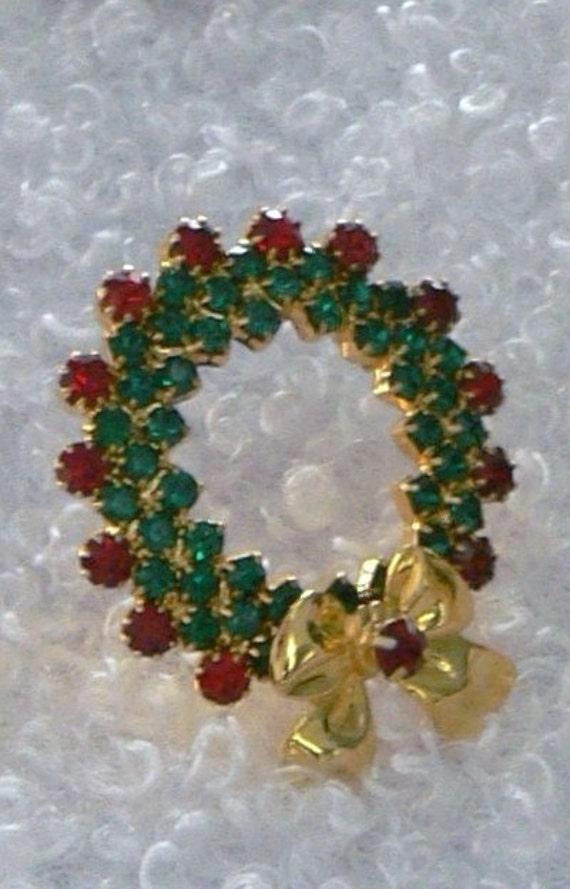 Red and Green Rhinestone Brooch
