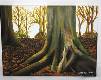 Woodland original acrylic painting. Trees and leaves, 30x40cm box canvas, brown and green, autumn