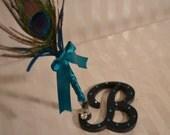 Peacock pen-Custom Monogram pen- guest book pen