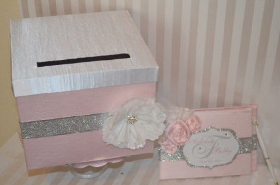 "Light Pink Wedding Card Box- The ""Sabrina""-Light Pink and Bling Custom Card box and Guest Book, Order Yours Today"