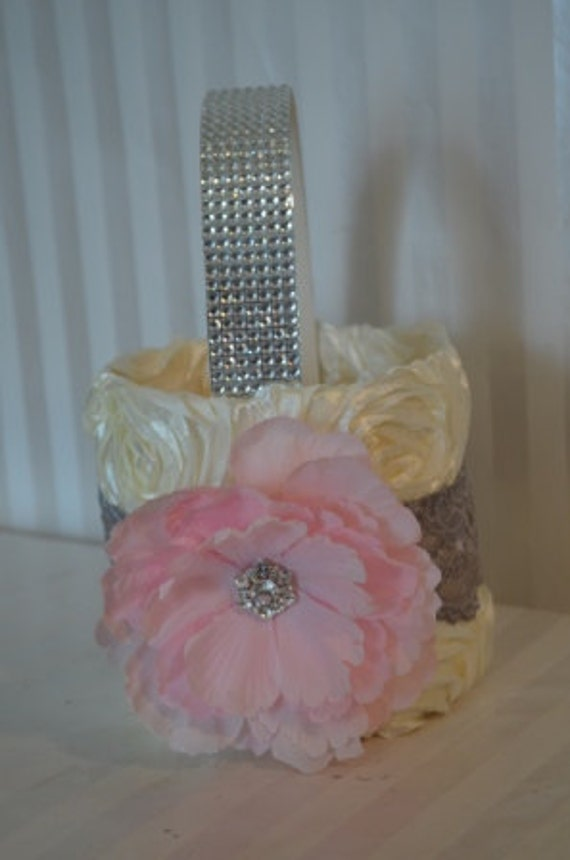 Pink Flower Girl Basket-Ivory ruffle basket with silver lace -Rhinestone handle