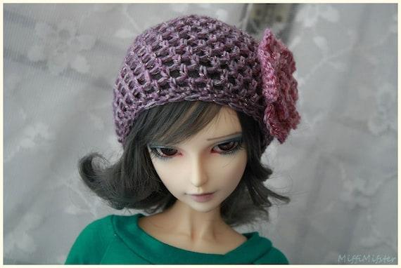 CP Delf SD13 girl Purple Net Crochet Beanie with Pink Flower for ABJD Super Dollfie type Doll