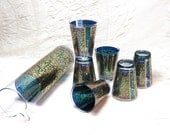 Mid Century Peacock Green Blue Gold Teal Martini Pitcher Party Tumblers Rocks Cocktail Glasses Georges Briard  Hollywood Regency