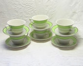Vintage Swirled Lime Green Chrome Syracuse China Teacups and Saucers Gift for Him Her Mid Century Modern Tea Party
