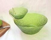 Mid Century Sereno Avocado Green Pressed Bark Chip Dip Set Serving Bowl Set Modern Home Decor