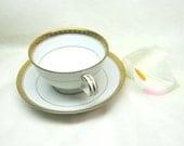 Vintage China Tea Coffee Cups Noritake China Teacup Saucer Set Gold White Tea Cup Set Richmond Pattern Noritake Porcelain China