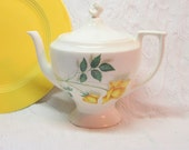 Yellow Rose Tea Pot Yellow Rose of Texas Coffee Pot China White Green Vintage Home Decor Serving