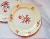 Reserved for Karen  Cottage Shabby Chic 1940 Homer Laughlin Pricilla Pattern Plates Pale Cream  English Roses