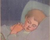 1940  Illustration Print Boy Sleeping Dreams Bed Sweet Dreams Angel Mid Century Print Majorie Torrey Sing in Praise