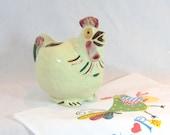 Vintage Shawnee Art Pottery Chicken Rooster Pitcher Milk Juice Creamer Red Blue Green Got Cream