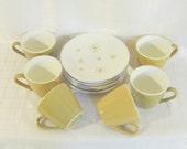Mid Century Star Glow Atomic Mad Men Pattern Mustard Gold  Tea Coffee Cups Saucers Modern Home Decor Yellow Housewares