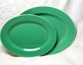 Vintage Harlequin Large Oval Green Platter Plate Retro Kitchen Art Deco Styling Serving Dinnerware Housewares