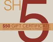 50.00 Gift Certificate from SlatternHouse5 Home Decor Vintage Chin  Weddings Birthdays Anniversary Holidays Engagements Housewarming Showers