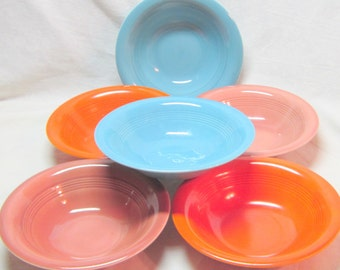 Vintage Harlequin China Bowls Art Deco Bowls Red Rose Mauve Turquoise Orange Small Bowls Fiestaware Riviera Bowls 1930-1950 Dinnerware Bowls