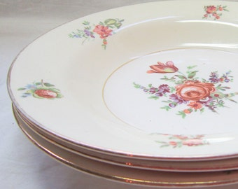 Pricilla Pattern Homer Laughlin 1940 Soup Bowls Pale Cream  English Roses Mauve Pink Gold Green Gift for Her Home Decor