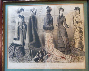 Antique  Framed Fashion Page From Peterson S