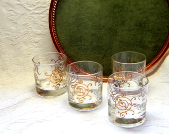 Mid Century Glasses Tumblers Rock  Gold Scroll Hollywood Regency Cocktail Glasses Barware High Style Gift for Him